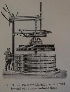 """Pressoir Marmonie, from \""""Vinification,\"""" P. Pacottet, Baillière & Fils, 1915."""