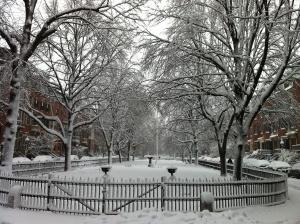 Snowy Union Park in Boston, January 2012